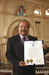 Jeffrey Barnhart, CMA CEO and president, whose firm was recognized for its history of helping businesses grow with branding, marketing and public relations, with the proclamation at the New Jersey Statehouse.