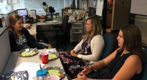 CMA Interns Casey Parrett, Samantha Collar and Jordannah Schreiber share a moment during a CMA luncheon.