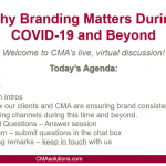 CMA's Virtual Discussion: Why Branding Matters During COVID-19 and Beyond